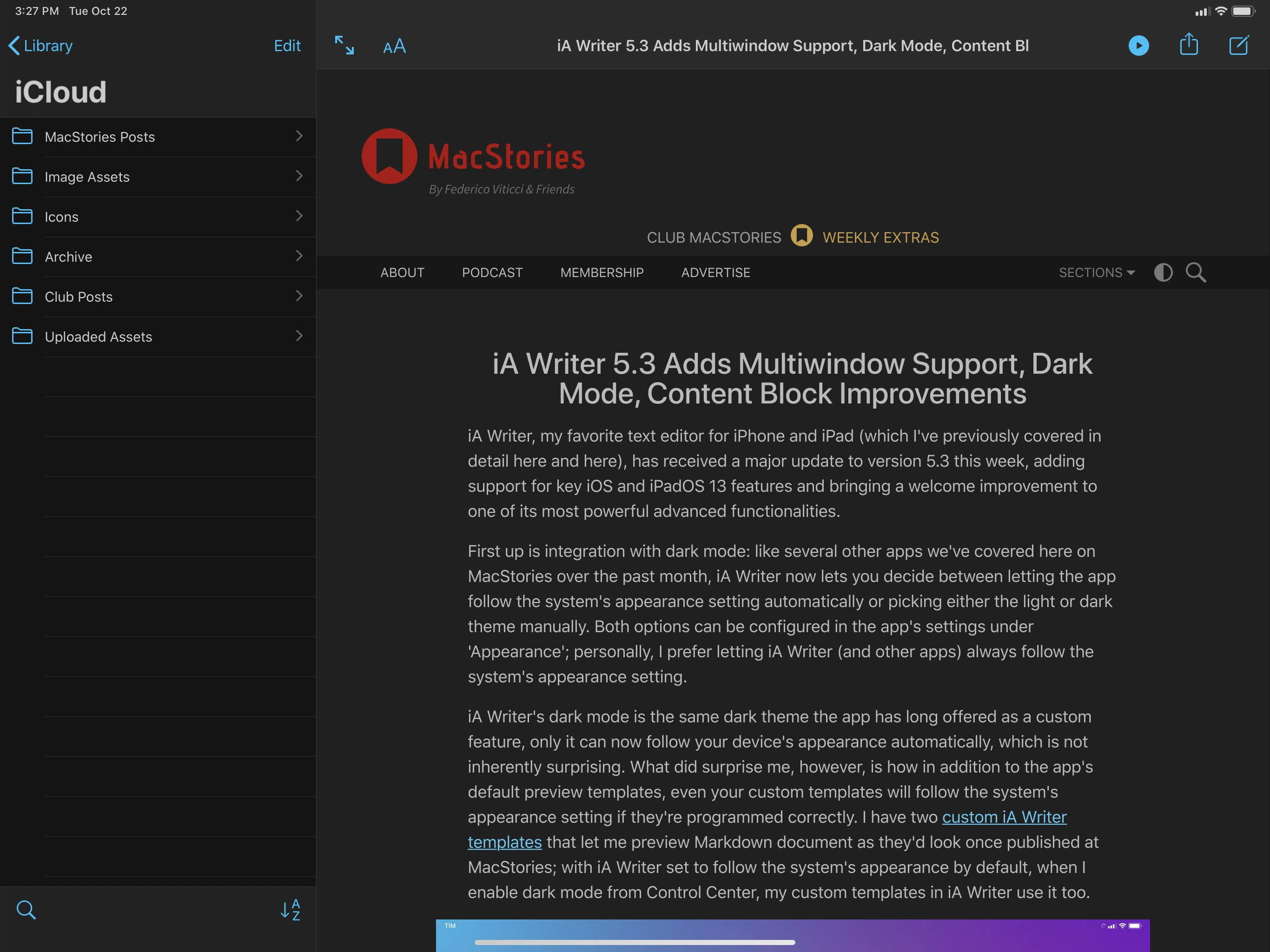 iA Writer 5.3 Adds Multiwindow Support, Dark Mode, Content Block Improvements