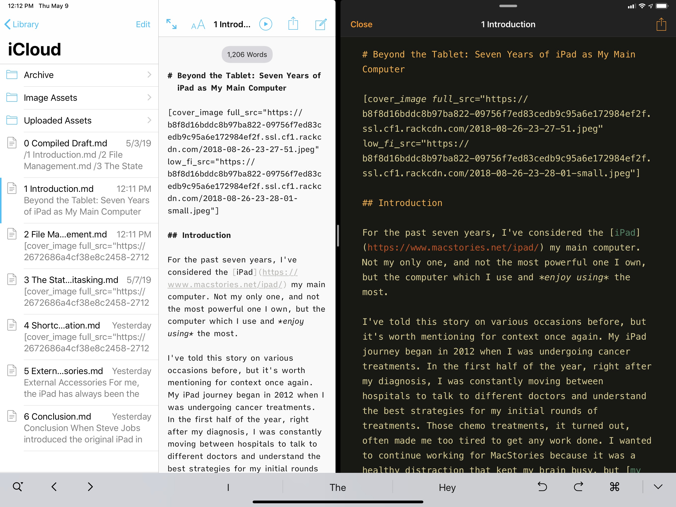 A document from iA Writer (left) opened in Pretext via the document browser and open-in-place (right).