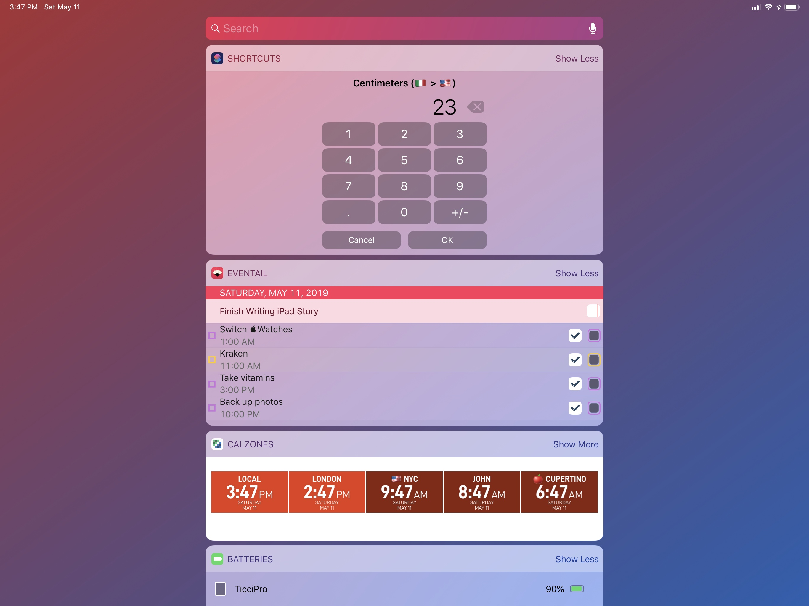 Converting between units of length from the Shortcuts widget.