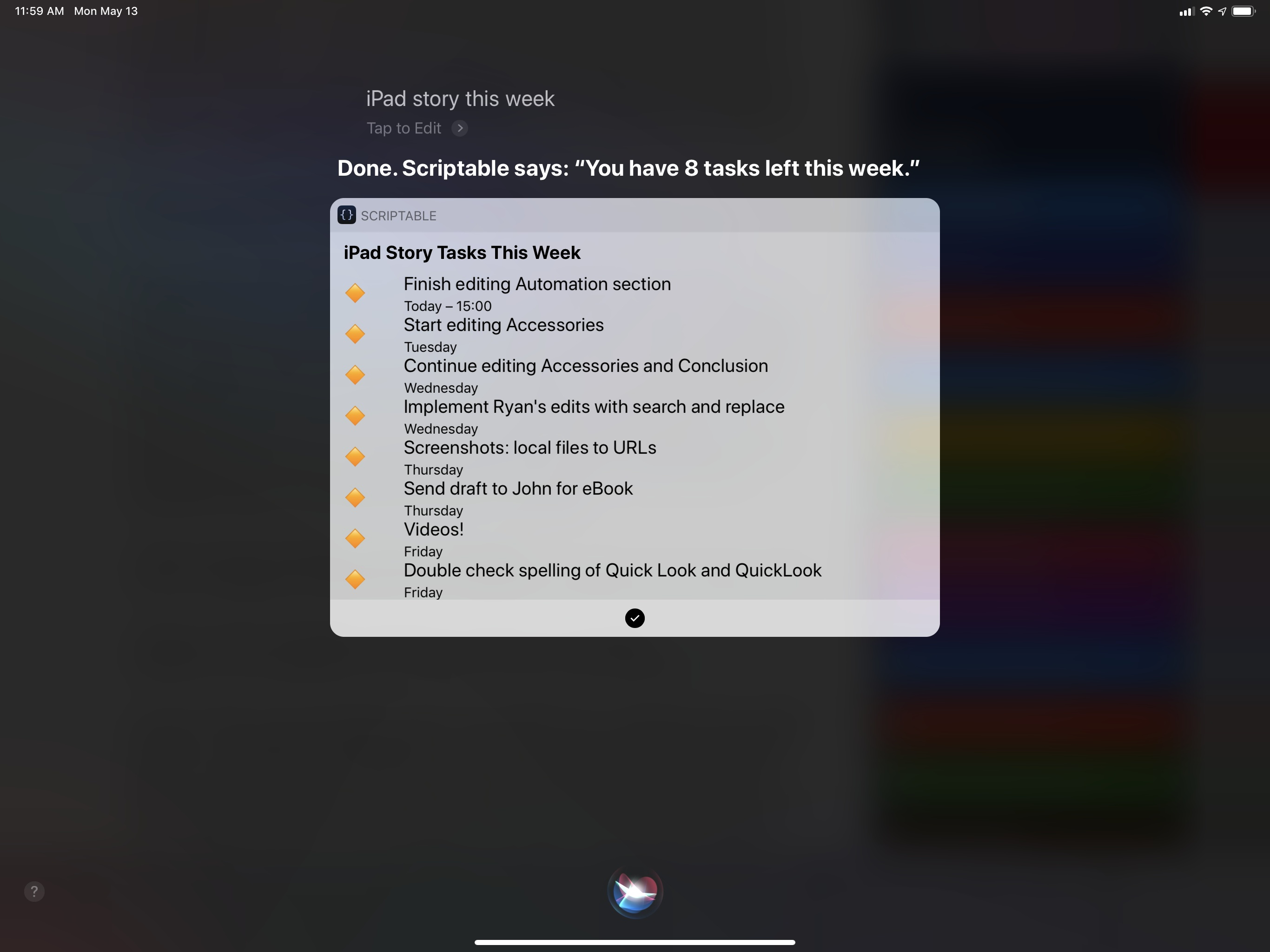Tasks from a specific Reminders list, filtered by a Siri shortcut argument.