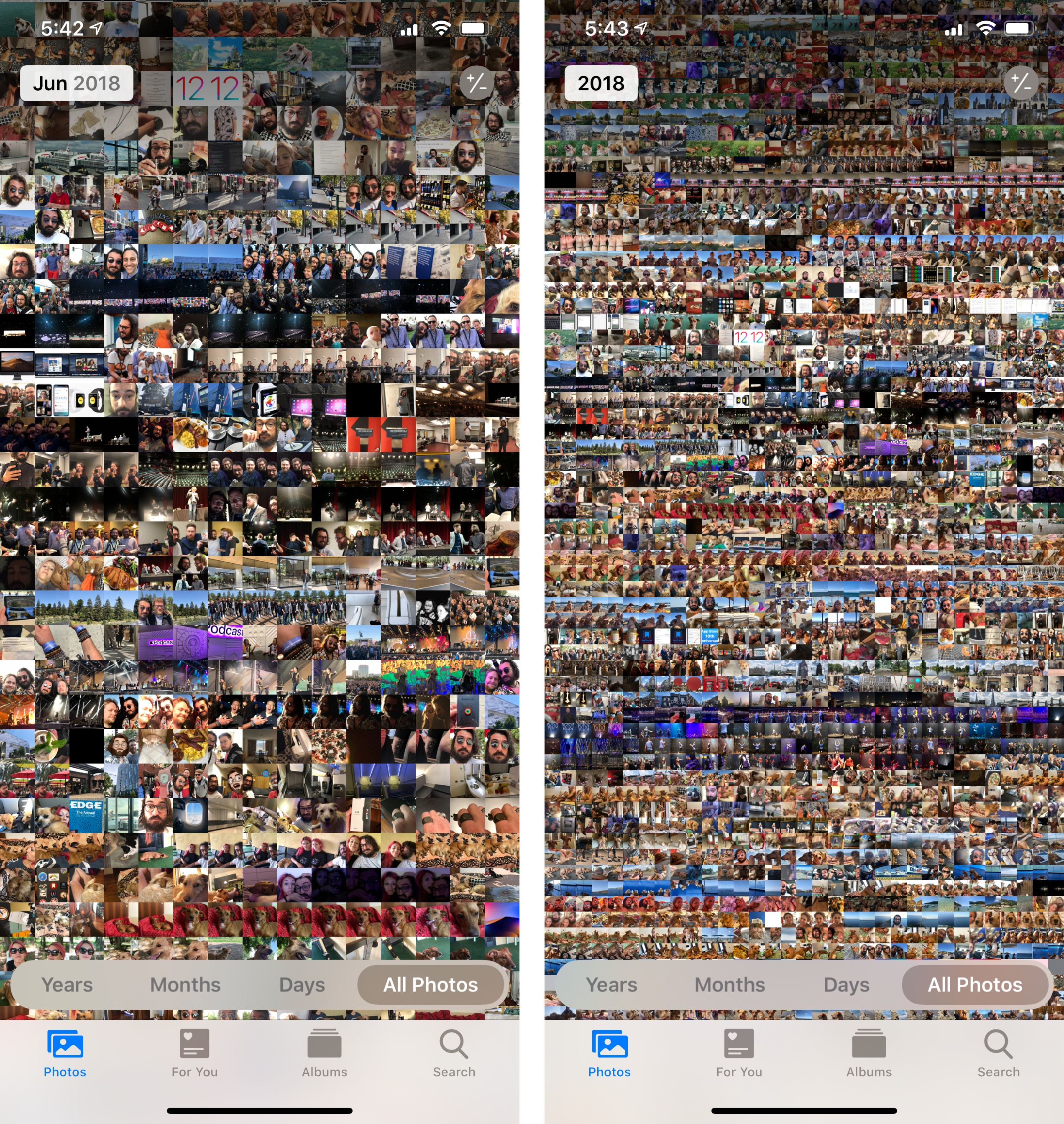 Multiple zoom levels in the All Photos view, including the impressive year view (right).