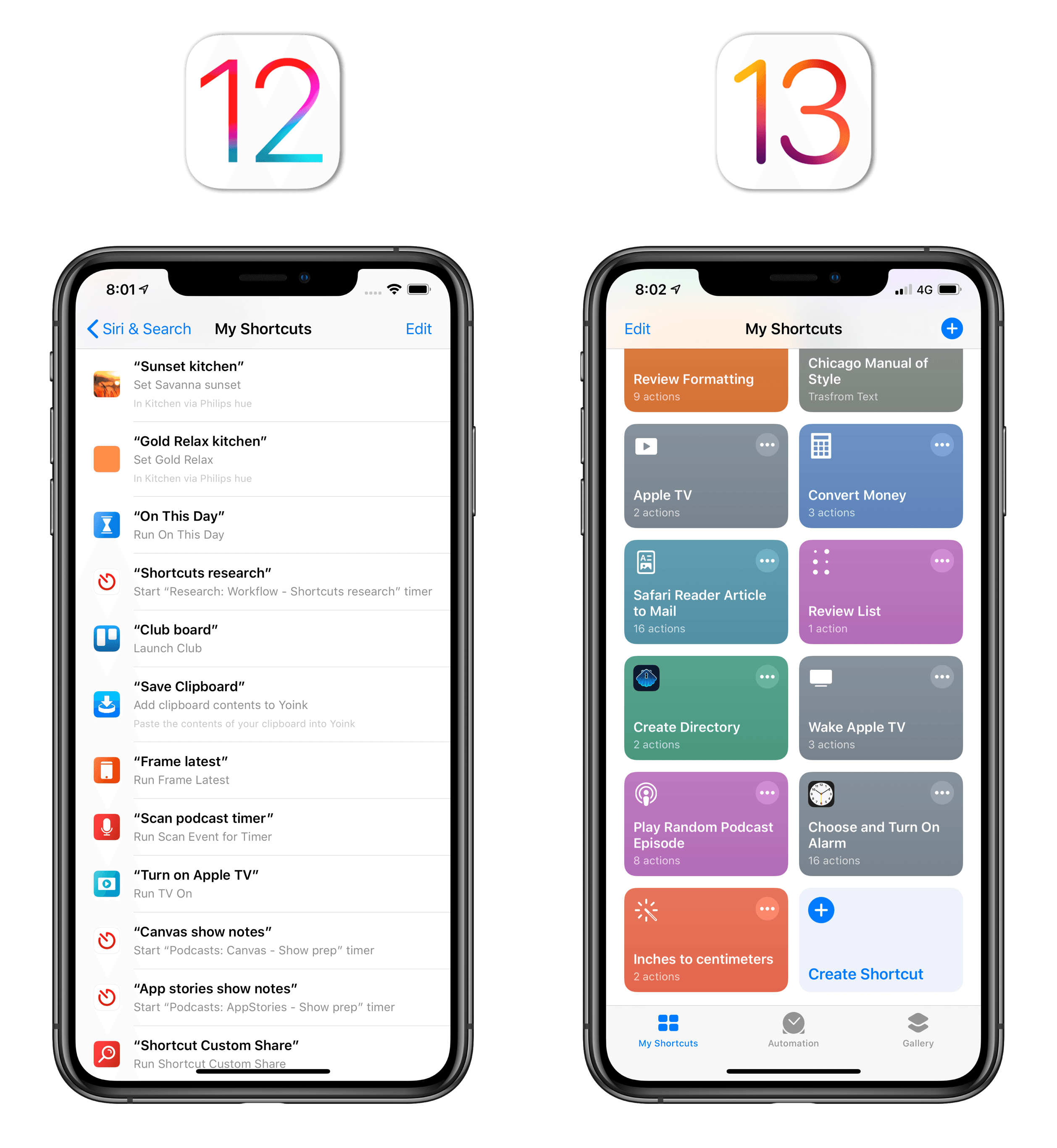 In iOS 12, Siri shortcuts used to live in the Settings app; in iOS 13, everything is stored in the Shortcuts app.