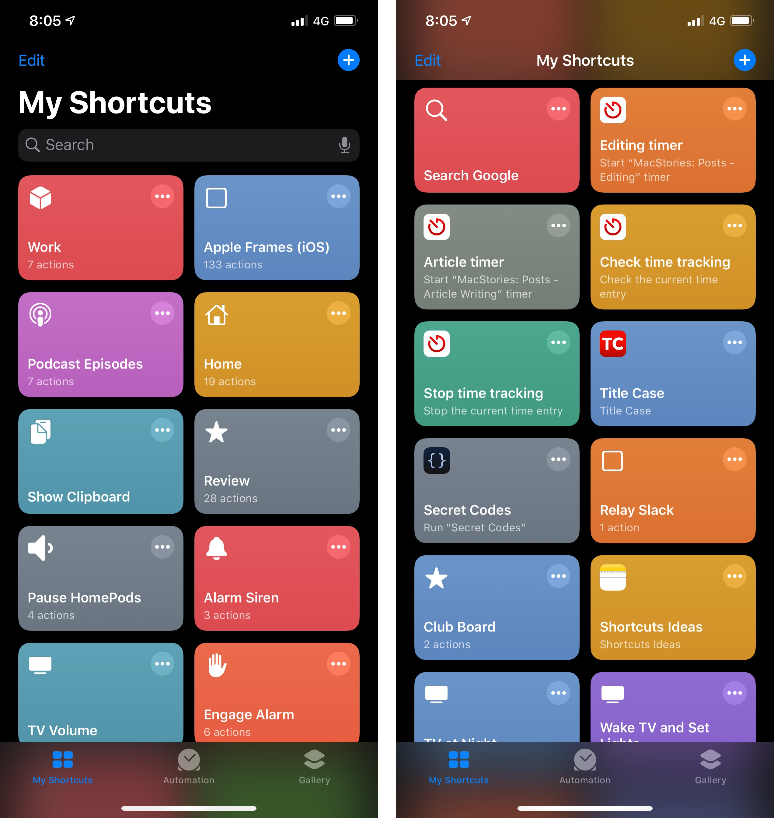 The shortcuts with app icons were imported from iOS 12.