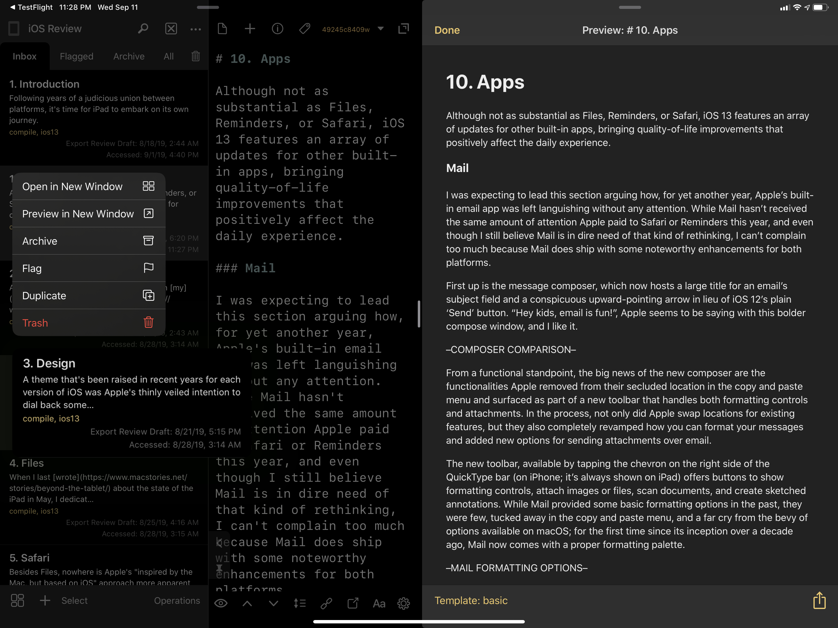 You can preview Markdown notes in separate windows with Drafts 15, and there's also a context menu to open new windows.