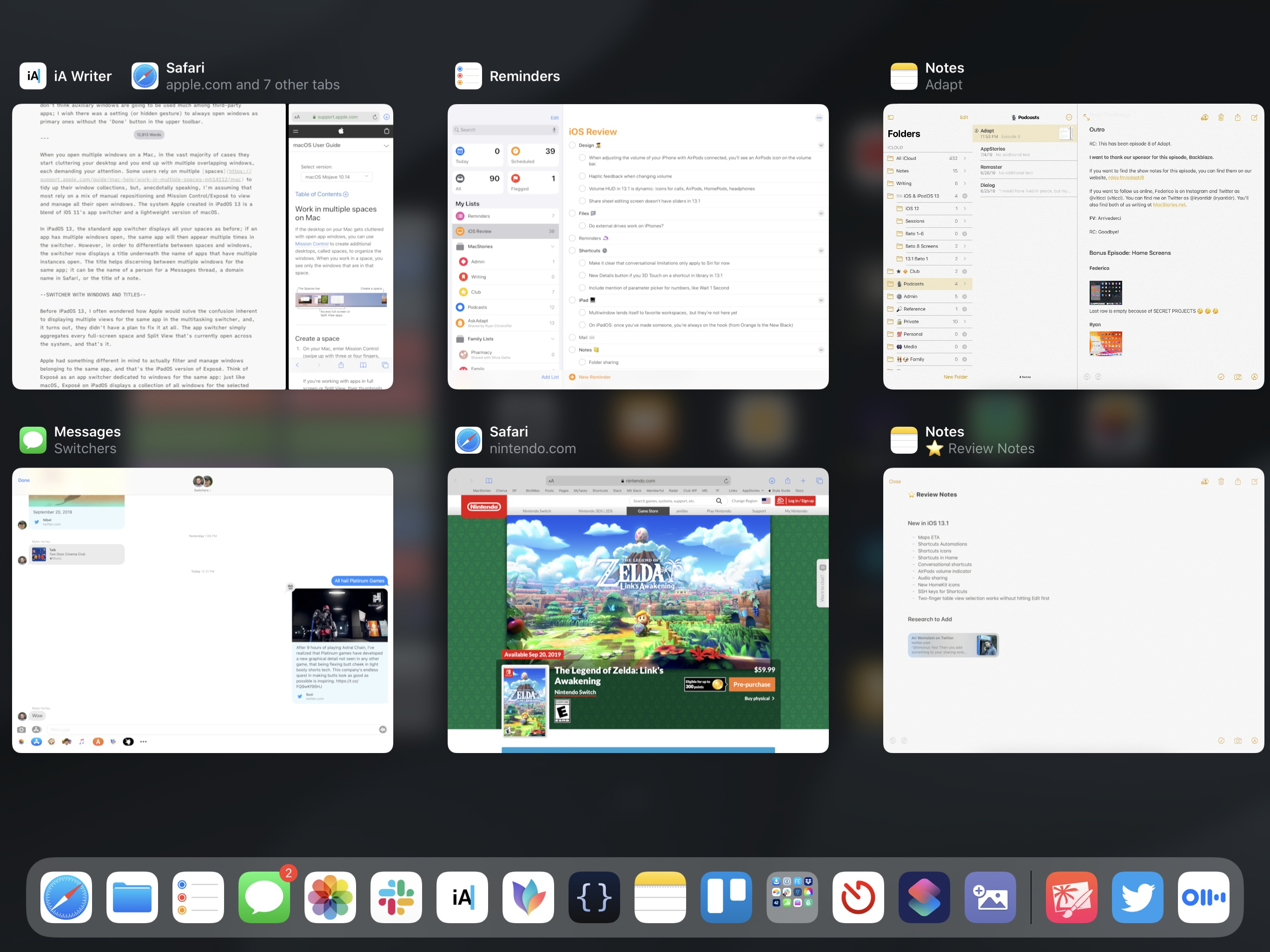 Apps with multiple windows in the app switcher.