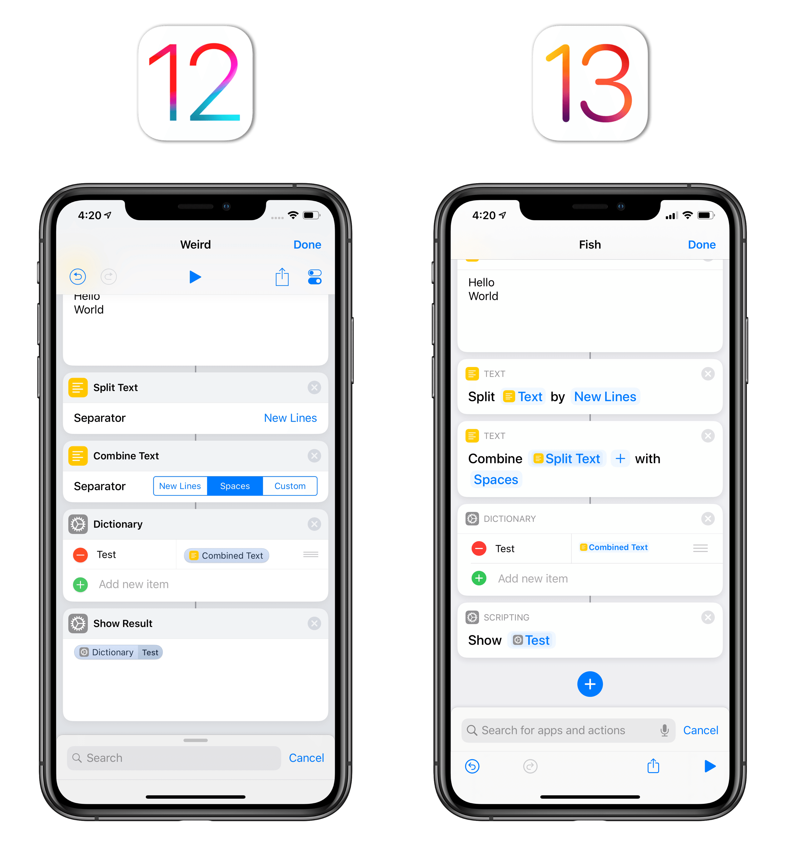 Both actions extract the value of a 'Key' action from a dictionary. iOS 12 made that clear; the new Shortcuts app doesn't.