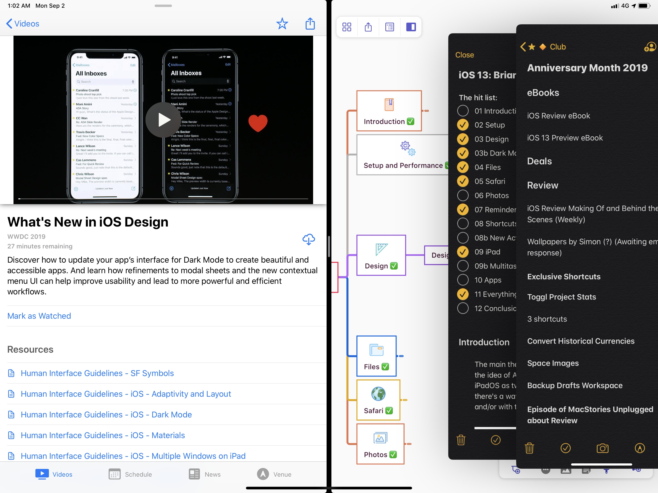 My typical research setup in iPadOS 13: watching a video, working on a mind map, and flipping between multiple Notes windows in Slide Over.