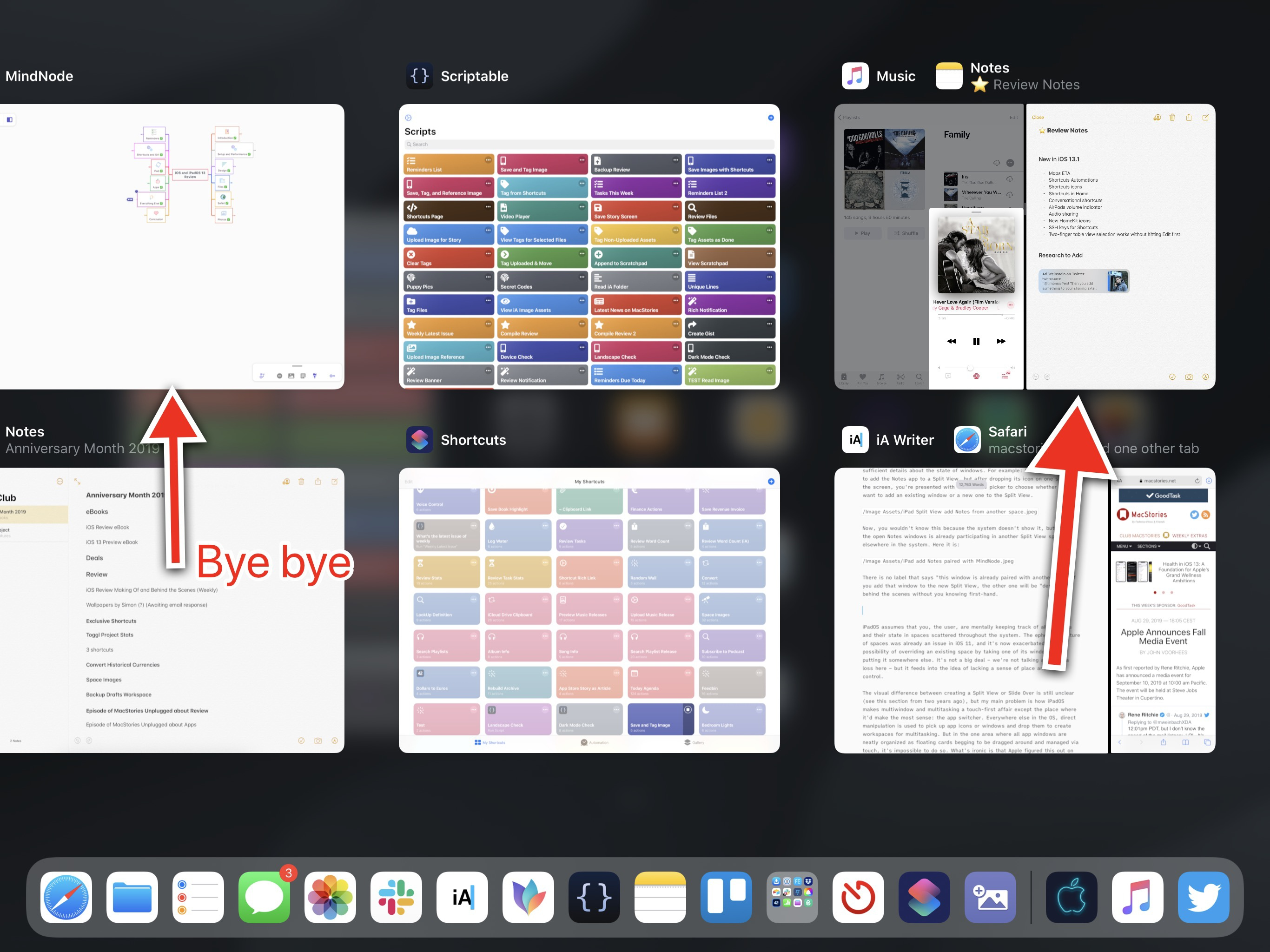 The original Split View has been un-assigned, and now Notes is paired with Music.