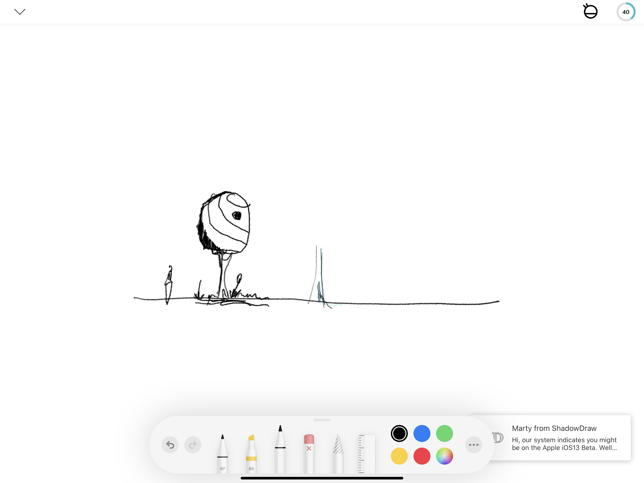 The latest version of ShadowDraw implements PencilKit support for sketching in the app.