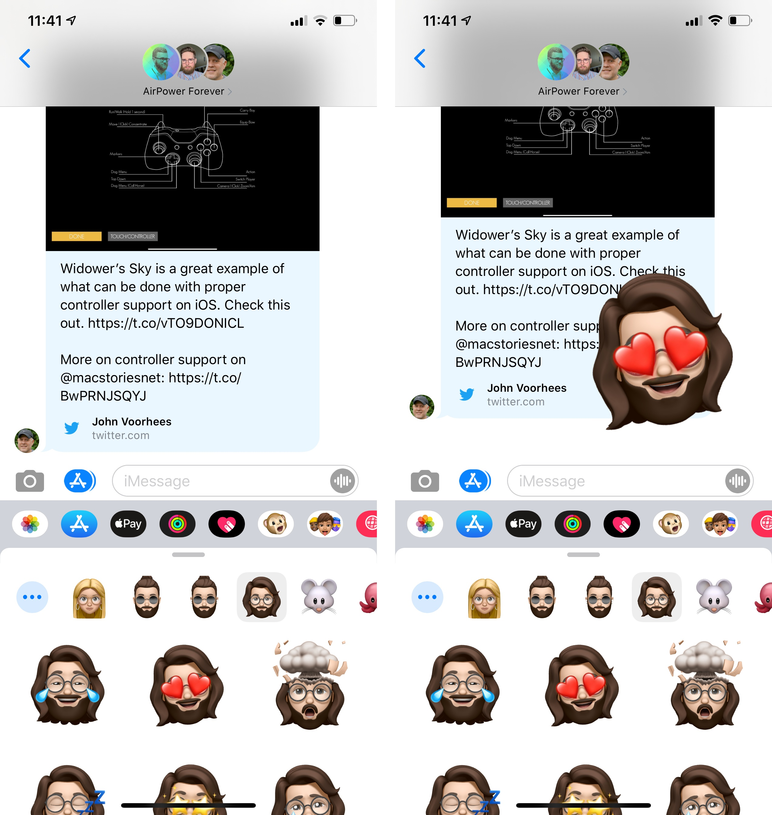 Memoji stickers in Messages.