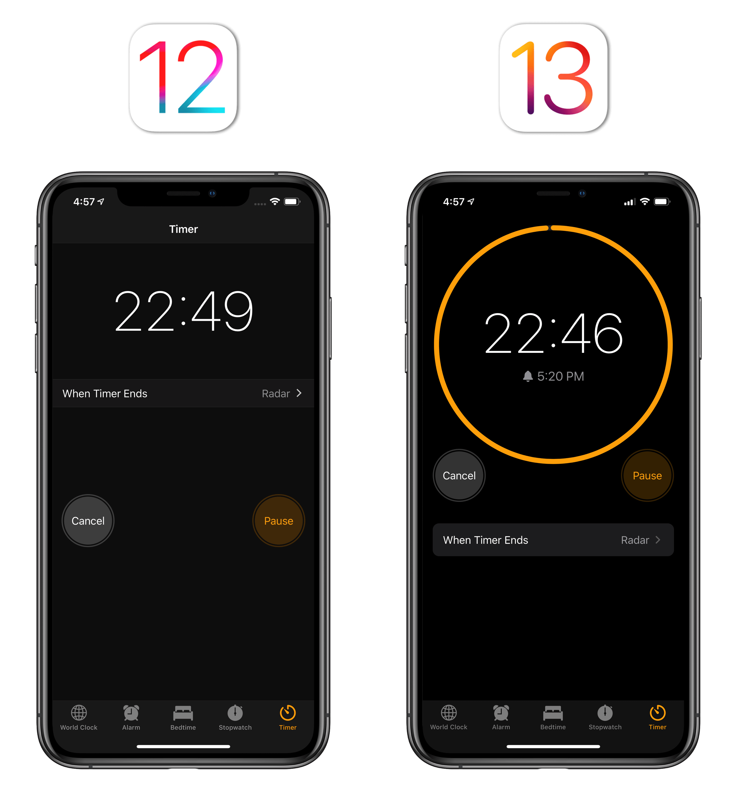 The new timer UI in iOS 13.