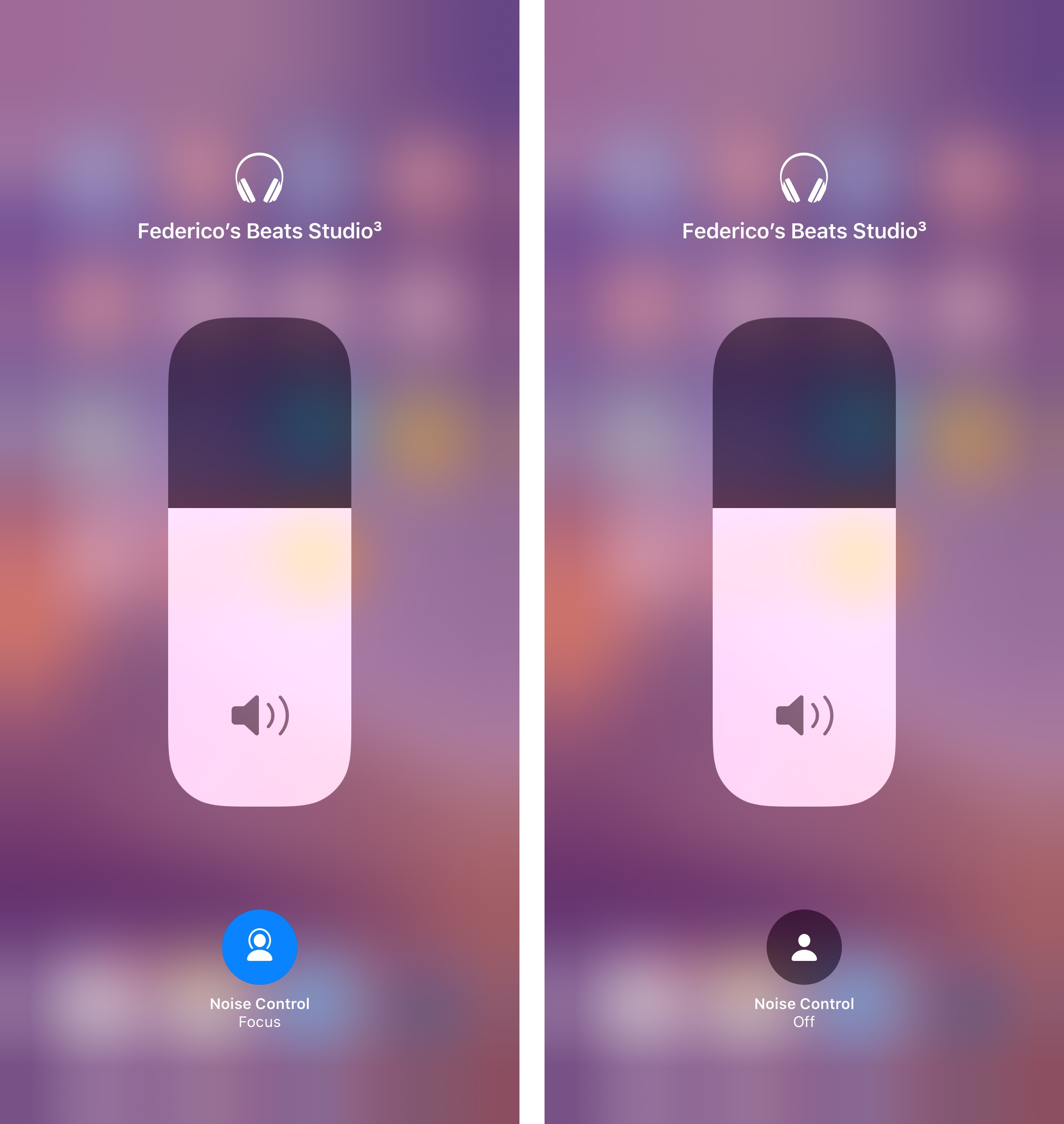 You can toggle noise cancellation for Beats headphones in iOS 13. The icon is different between iOS 13 and iOS 13.1. (iOS 13.1 version pictured above.)