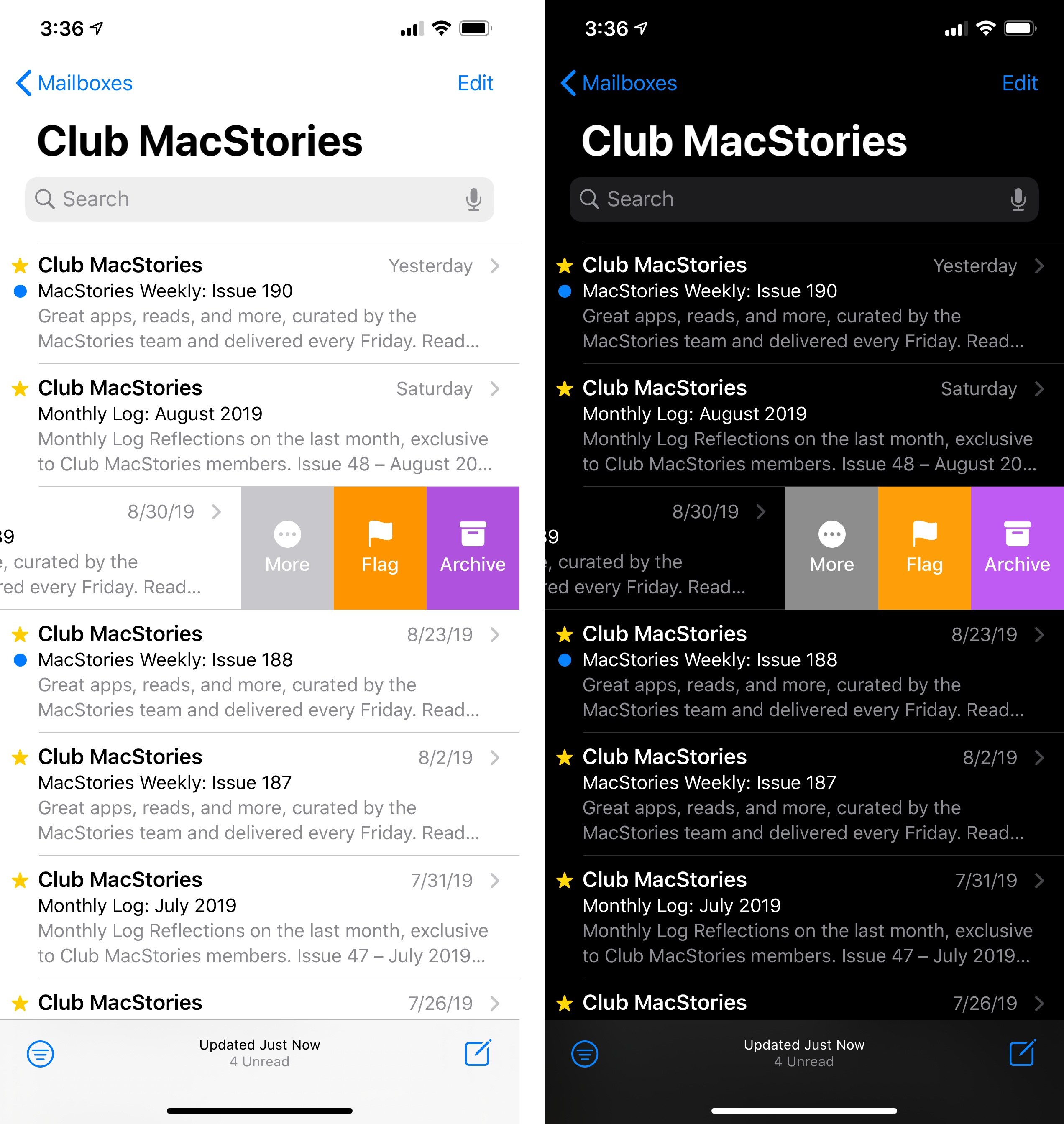 Swipe actions in Mail use the new system colors in iOS 13.