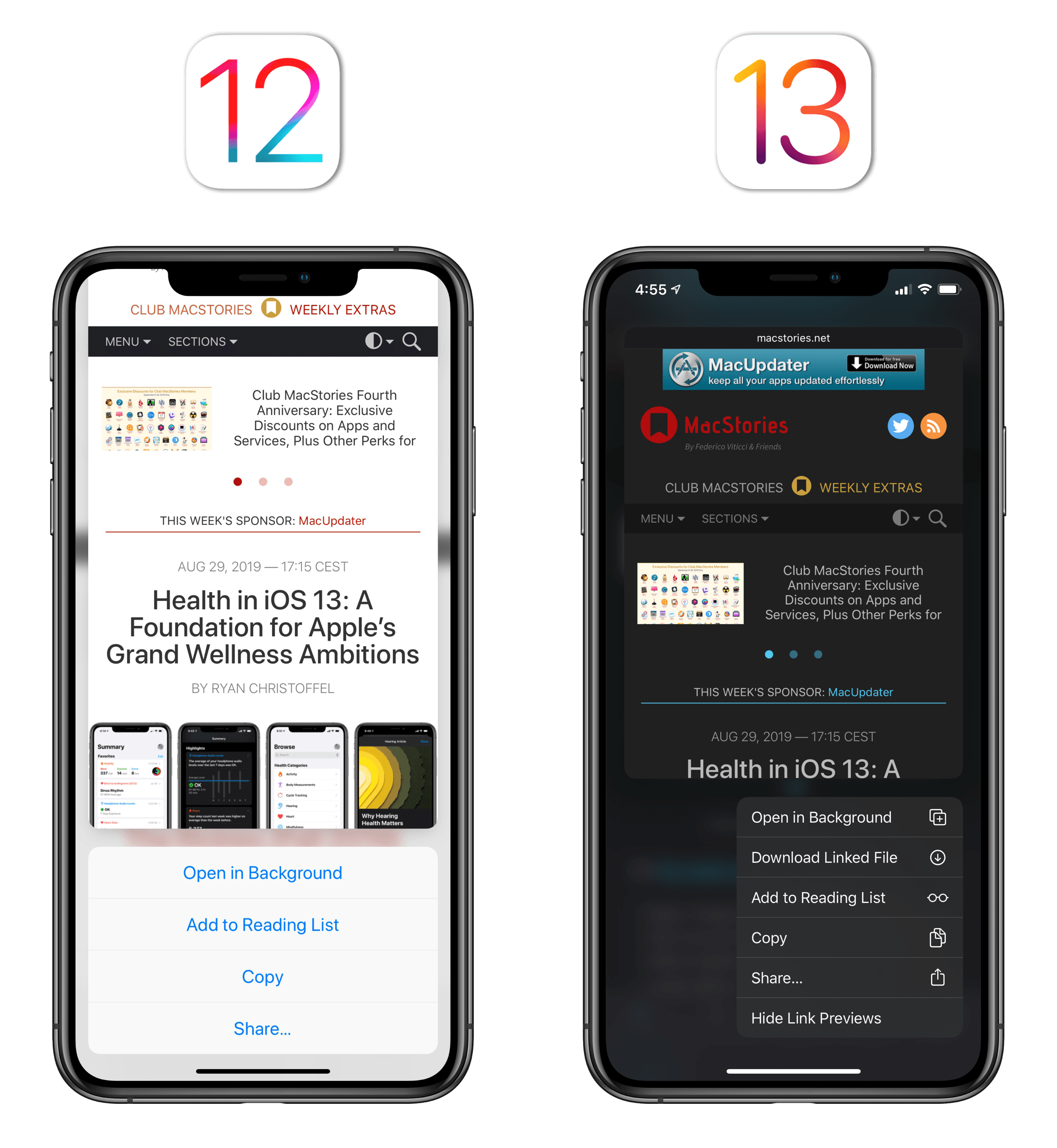 You needed to swipe up to see actions available for peek and pop in iOS 12.