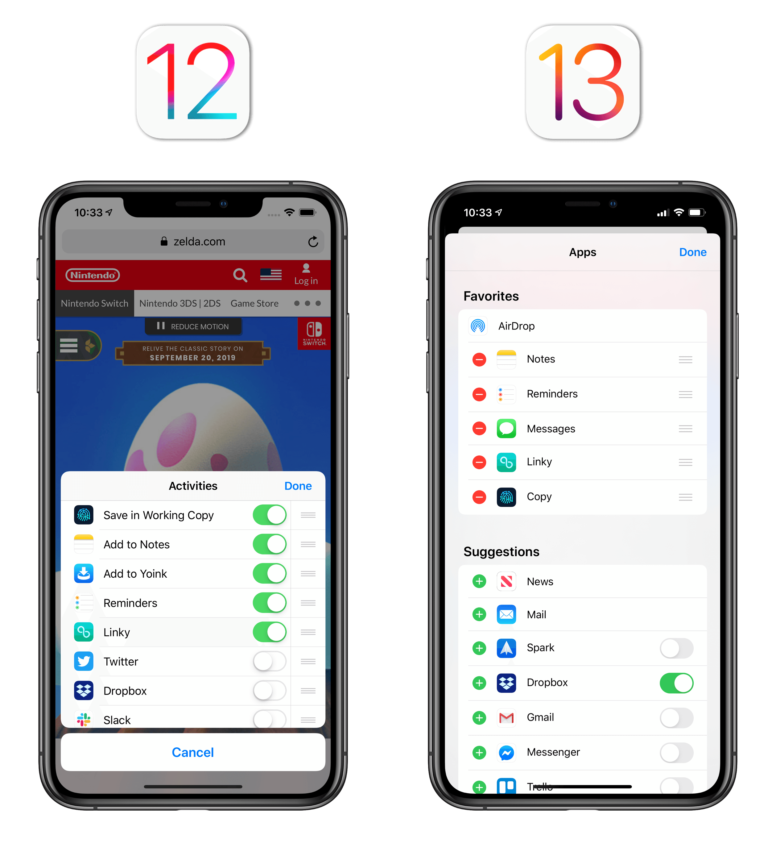 Configuring share extensions in iOS 12 and iOS 13.
