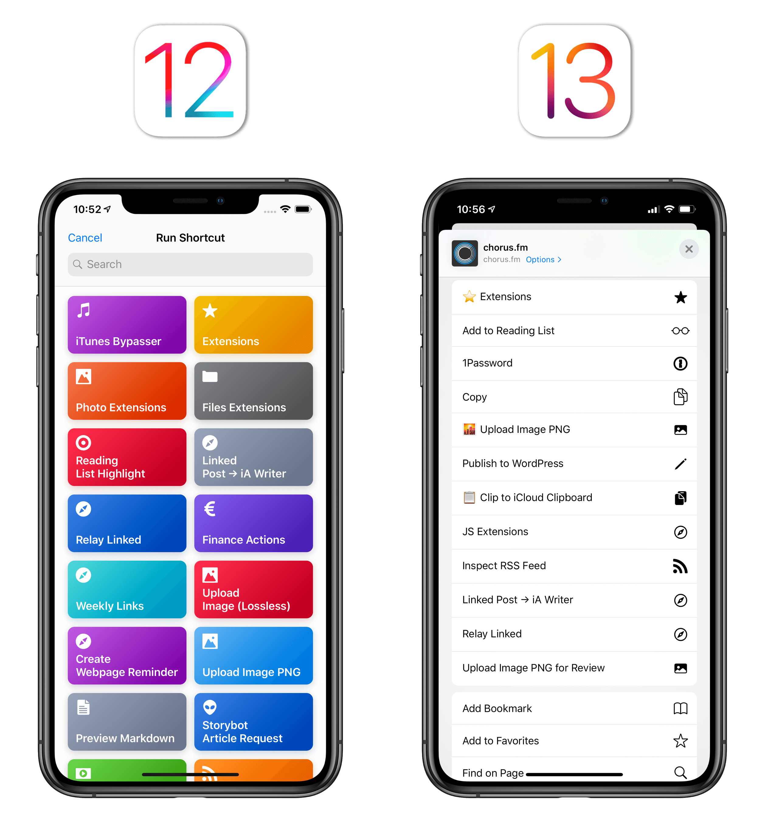 In iOS 12, you had to open a separate extension to view your shortcuts. In iOS 13, your shortcuts are top-level items that can be intermixed with other actions.