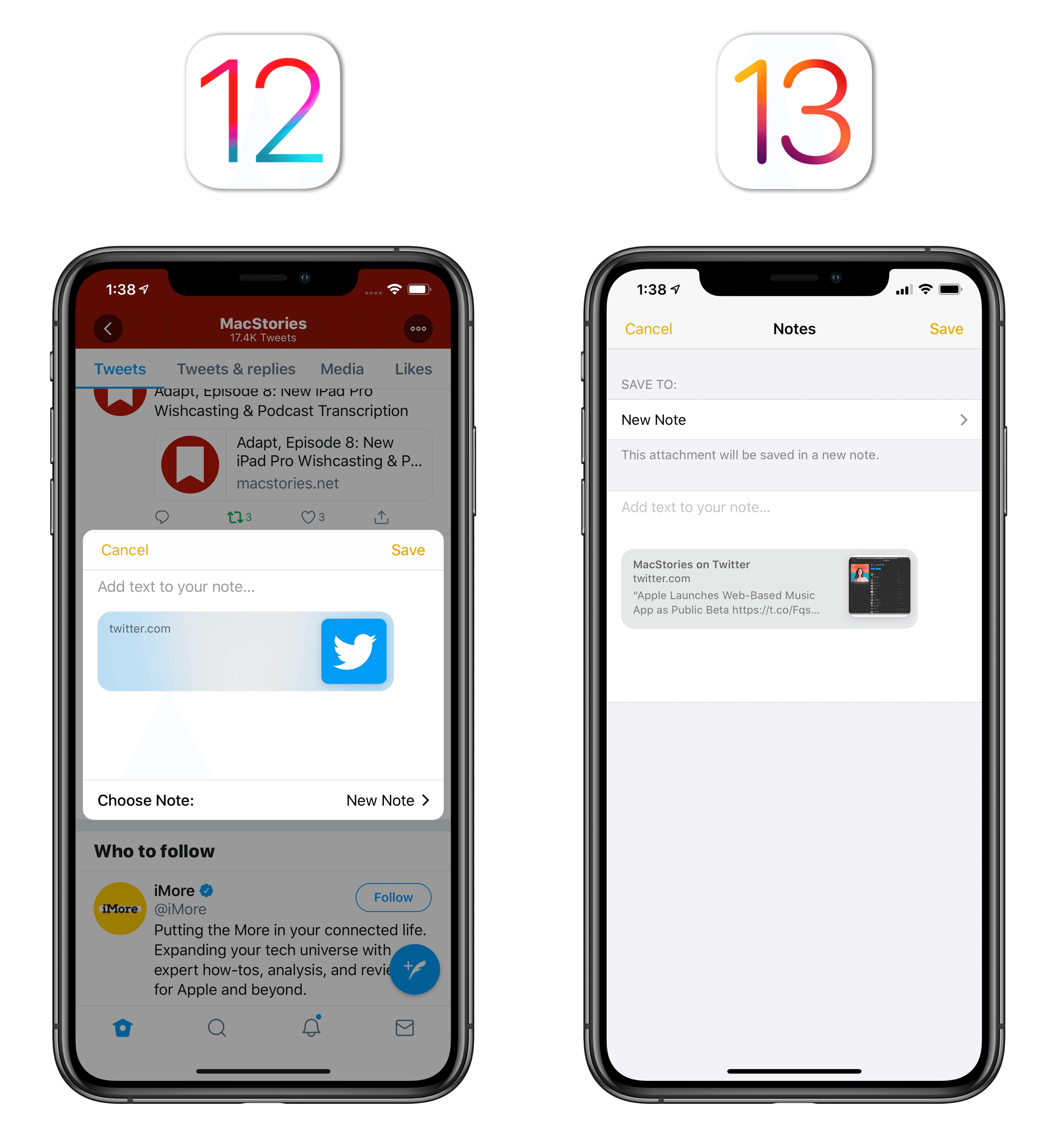 Tweets properly expand as rich links in iOS 13's Notes app.