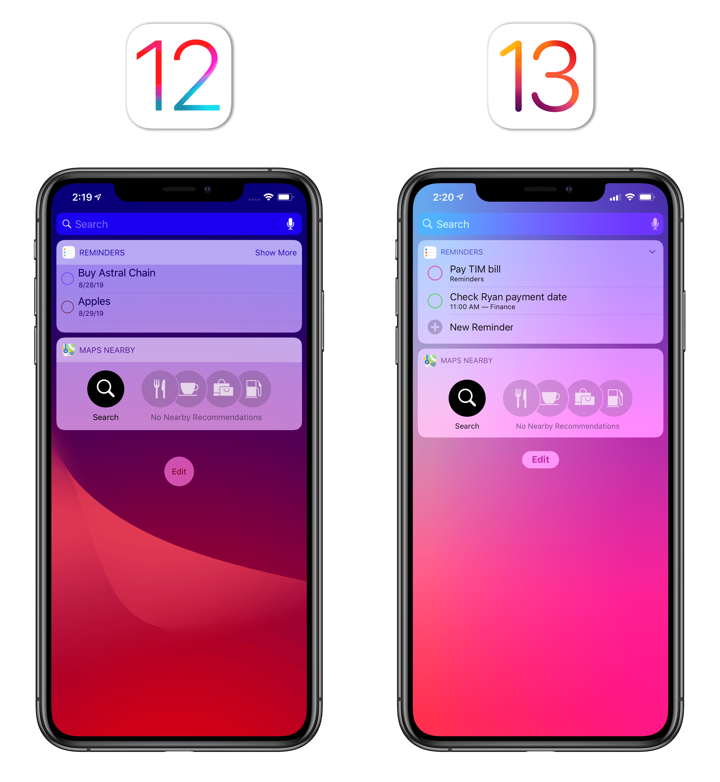 The refreshed look for widgets in iOS 13.