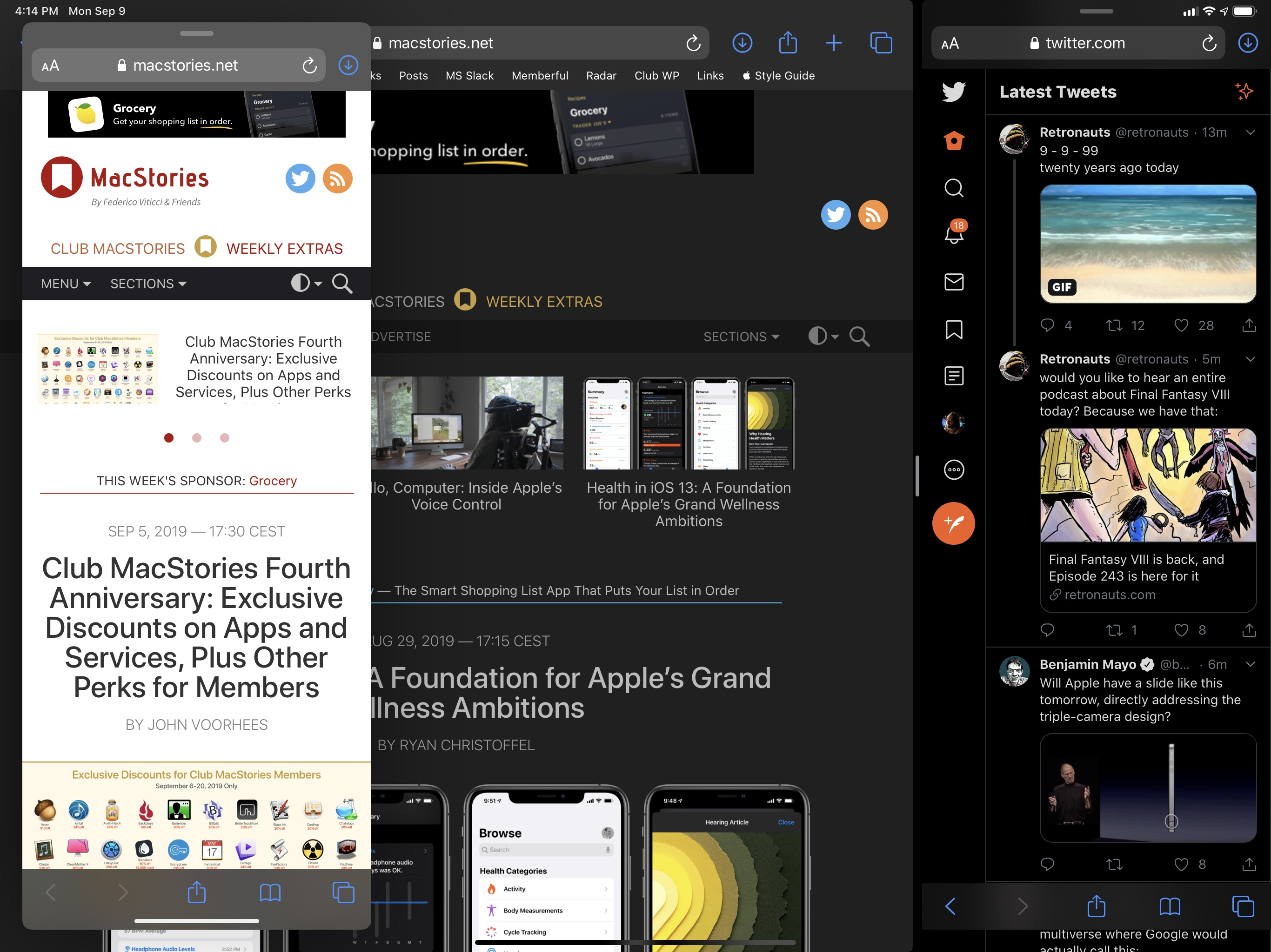Multiple Safari windows in iPadOS 13 with support for native Split View and Slide Over.