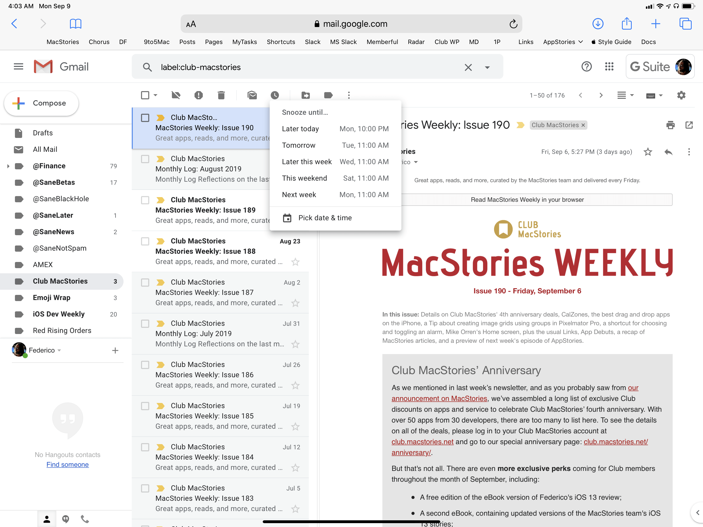 The full Gmail web app experience, now entirely usable in Safari for iPad.
